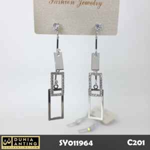 C201 Anting Tusuk Long Earing Triple Square Swarovski Earring 6cm