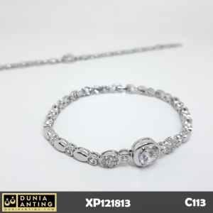 C113 Gelang Rantai Silver Mata Bulat Swarovski Imitasi Platinum