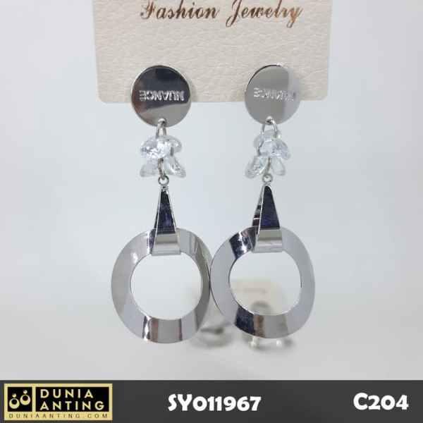 C204 Anting Nuance Premium Special Gantung Silver Circle Earring 6,5cm