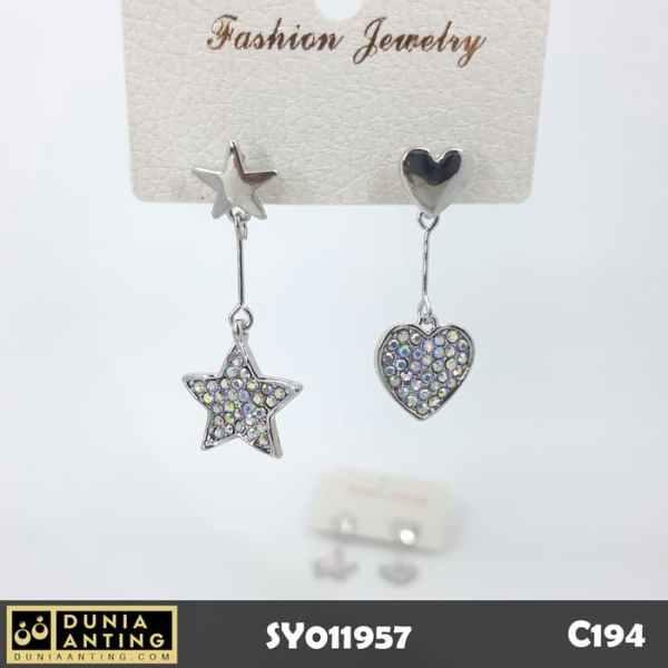 C194 Anting Twist Bintang Hati Heart Star Full Swarovski 4 - 3,5cm