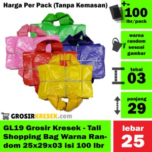 GL19 Grosir Kantong Kresek Shopping Bag Tali Random 25x29x03 100 lbr