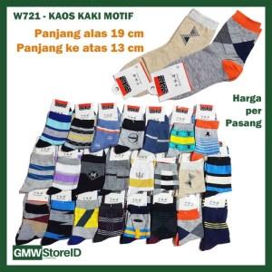 W721 Kaos Kaki Motif Gambar Warna Casual Pendek Men Sock Pria A21