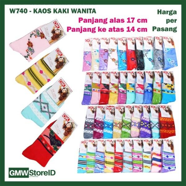 W740 Kaos Kaki Wanita Cewek Dewasa Panjang Women Socks Warna Motif