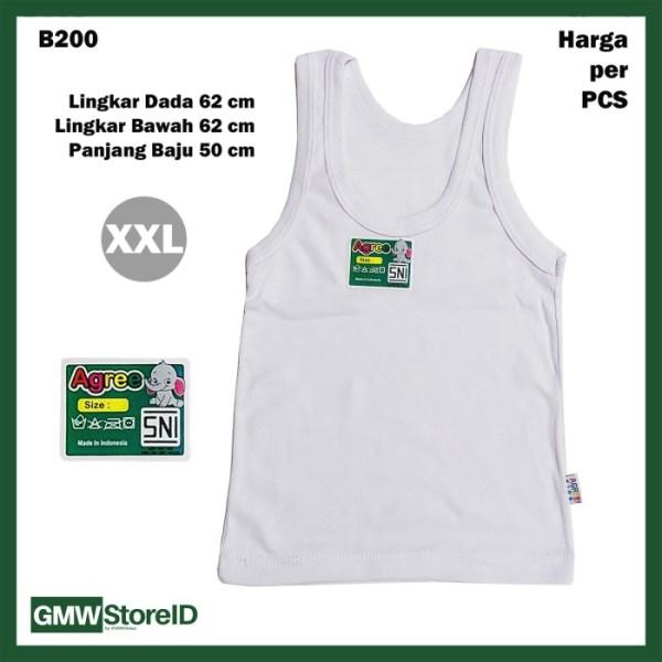 B200 Singlet Bayi Size XXL Putih Unisex Kaos Dalam Xtra Agree Baby SNI