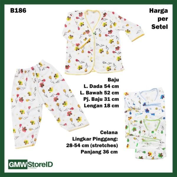 B186 Setelan Bayi Motif Transportasi Baju Piyama Lengan Panjang Celana