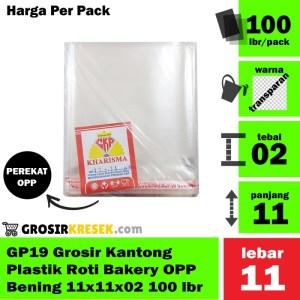 GP19 Grosir Kantong Plastik Roti Bakery OPP Bening 11x11x02 100 lbr