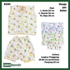 B184 Setelan Bayi Motif Transportasi Baju Buntung Celana Pendek Warna