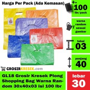 GL18 Grosir Kantong Kresek Shopping Bag Plong Random 30x40x03 100 lbr