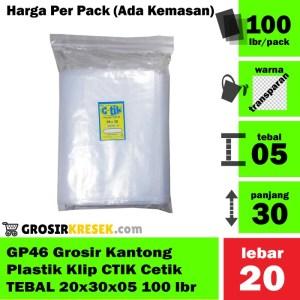 GP46 Grosir Kantong Plastik Klip Cetik CTIK TEBAL 20x30x05 isi 100 lbr