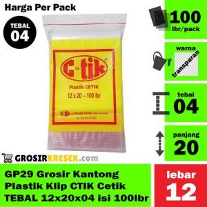 GP29 Grosir Kantong Plastik Klip CTIK Cetik TEBAL 12x20x04 isi 100 lbr