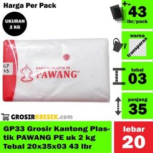 GP33 Grosir Kantong Plastik PAWANG PE uk 2 kg Tebal 20x35x03 43 lbr