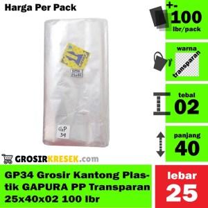GP35 Grosir Kantong Plastik GAPURA PP Transparan 30x45x02 100 lbr