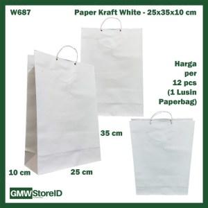 W687 Paperbag Paper Kraft Putih Polos 25x35x10cm Goodiebag Tas Kertas