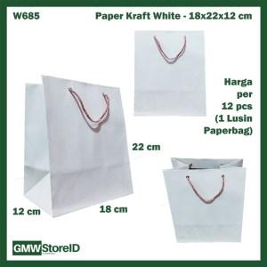 W685 Paperbag Paper Kraft Putih Polos 18x23x12cm Goodiebag Tas Kertas
