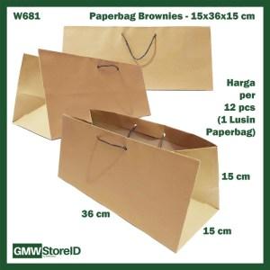 W681 Paperbag Coklat Polos Tempat Kotak Brownies Goodiebag 15x36x15cm