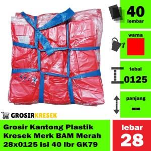 Grosir Kantong Plastik Kresek Merah Merk BAM 28x0125 isi 40 lbr GK79