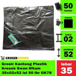 Grosir Kantong Plastik Kresek Swan Hitam 35x02x52 isi 50 lbr GK78