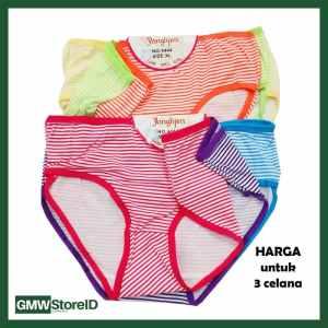 W618 isi 3 CD Wanita Size XL Celana Dalam Cewek Warna Motif Garis J35