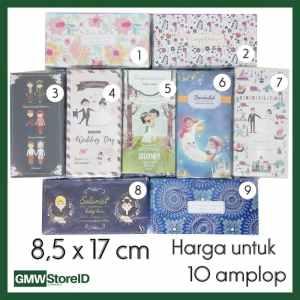W486 isi 10 Amplop Pernikahan Size Besar Printing Angpao Wedding Motif