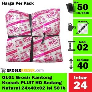 GL01 Grosir Kantong Kresek PLUIT HD Sedang Natural 24x40x02 isi 50 lbr