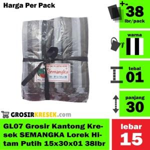 GL07 Grosir Kantong Kresek SEMANGKA Lorek Hitam Putih 15x30x01 38lbr