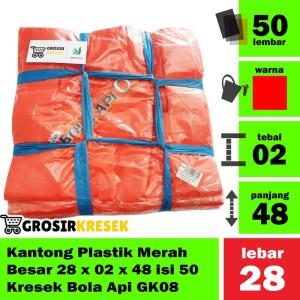 Kantong Plastik Kresrek Merah Besar Size 28x02x48 HDPE Kode G134