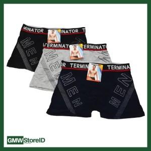 Celana Boxer Cowok 3088 Polos Terminator Men Ban Karet Random W363