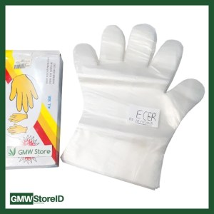 Sarung Tangan Plastik Disposable Gloves ECER 1 bungkus isi 20 pcs W226