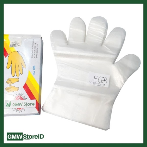 Sarung Tangan Plastik Disposable Gloves ECER 1 bungkus isi 20 pcs W226