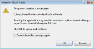 Error message saying that the 'Project location is not trusted'