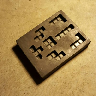 This is our Graphite Tetris block mold