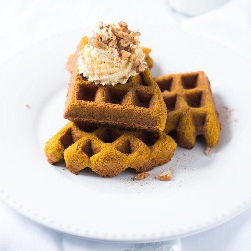 Pillowy Soft Pumpkin Waffles 🥞 gluten free, keto & paleo