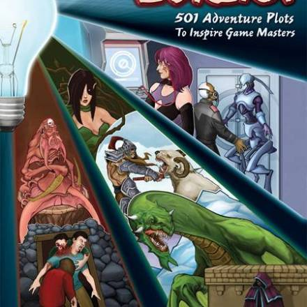 The Cover of Our Book, Eureka: 501 Adventure Plots to Inspire Game Masters, Revealed!