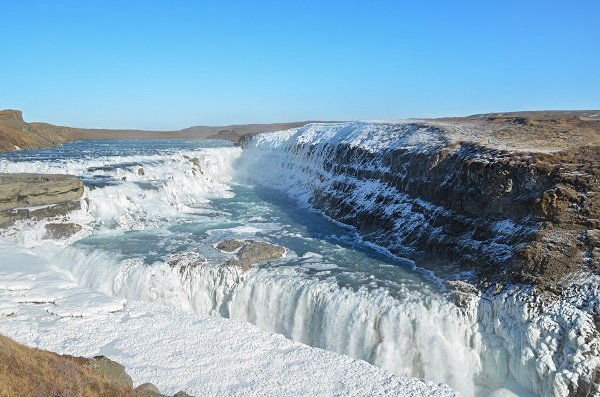 Gullfoss waterfall in southwest Iceland.