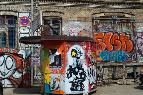 Graffiti-covered spaces of Friedrichshain.