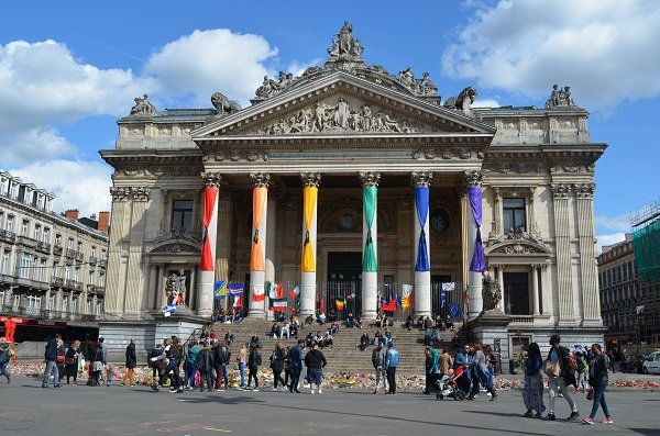 Brussels Stock Exchange showing its rainbow colors.