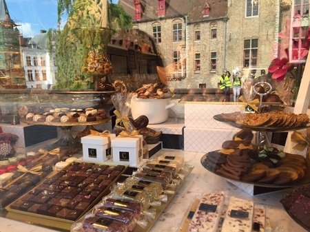 There are endless windows full of chocolate all over Bruges.