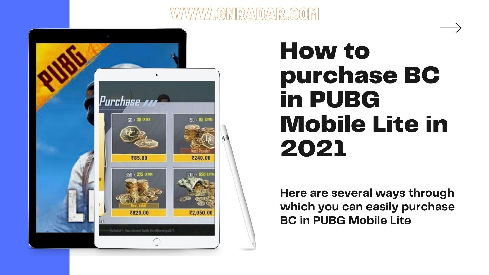 purchase BC in PUBG Mobile Lite in 2021 ...