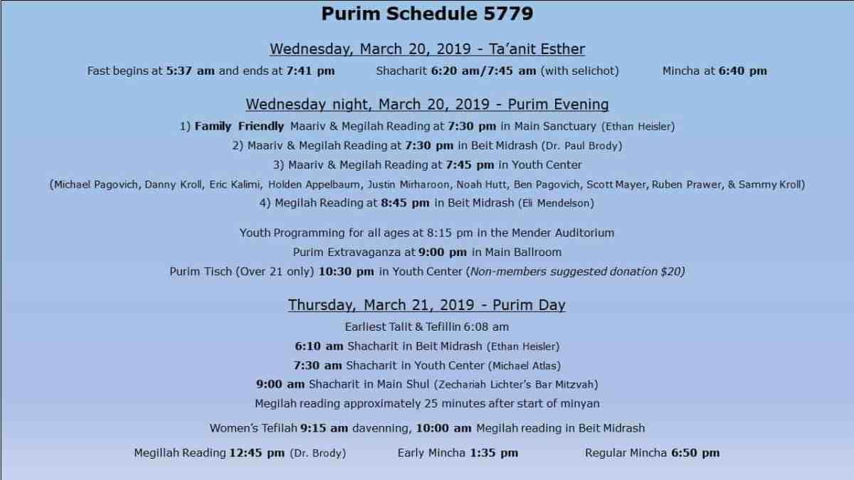 Purim Schedule 2019 — Great Neck Synagogue