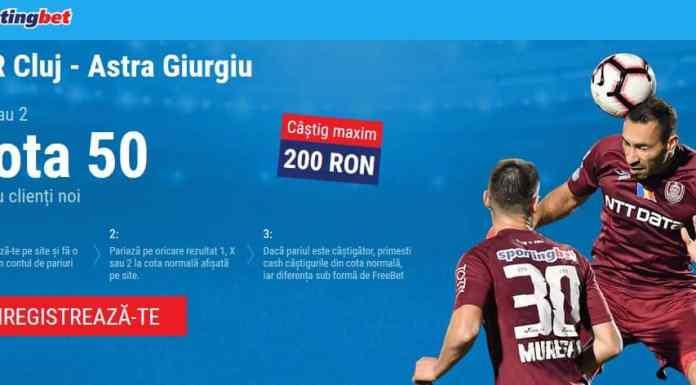 Castiga 200 RON la partida CFR Cluj vs Astra (sambata 16 feb)