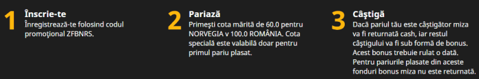 Cote marite la Betfair in Norvegia vs Romania