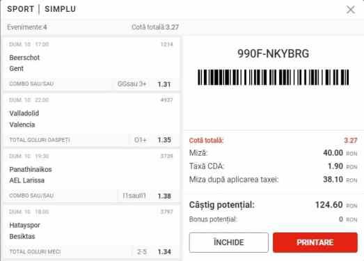 Biletul Superbet 10.01.2021