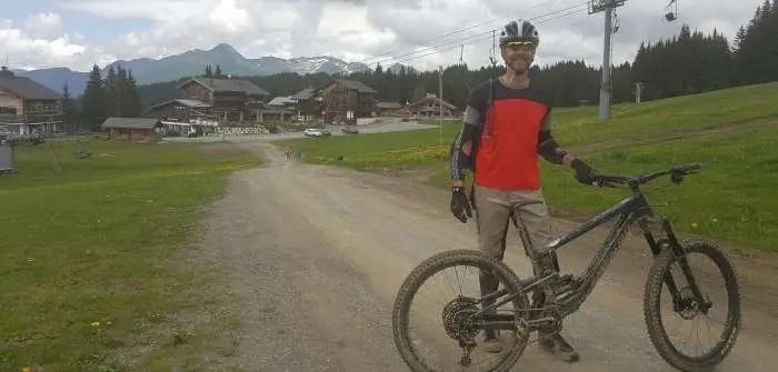 Pat with bike in Morzine France