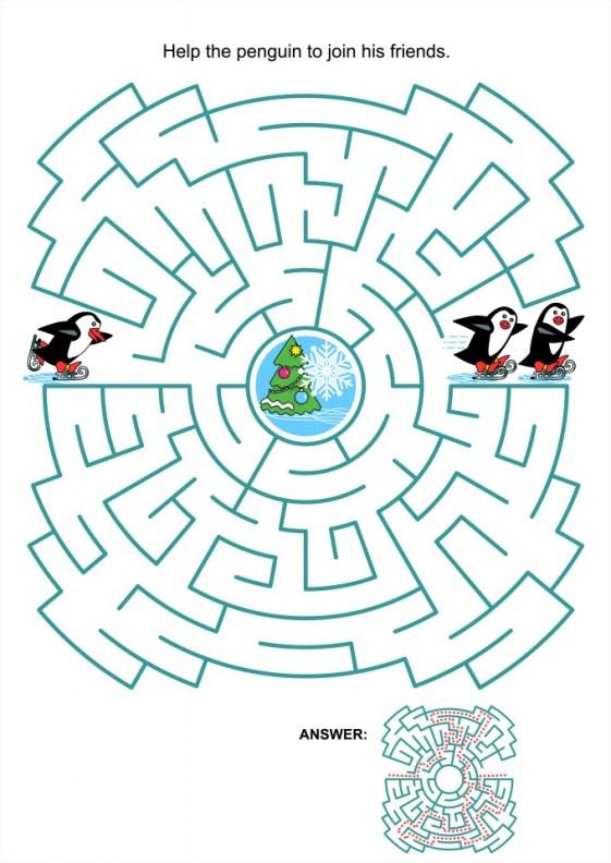 Kerst spelletjes voor kinderen en volwassenen doolhof