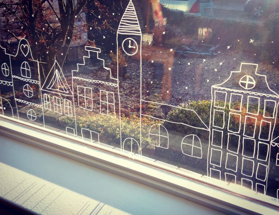 Kerst krijtstift tekening voor op het raam