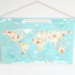 Een wereldkaart vol dieren om te tellen en te benoemen