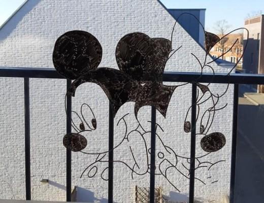 Raamtekening Mickey en Minnie