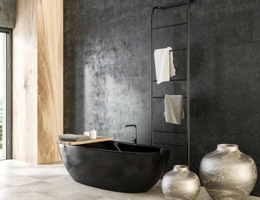 Een zwarte badkamer, dé woontrend van dit moment