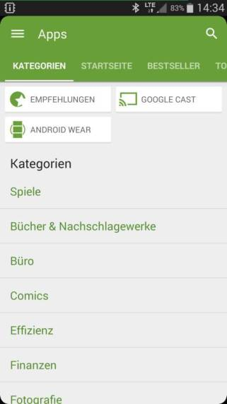 Google Play Store mit Android Wear Sektion