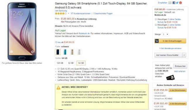 Samsung Galaxy S6 Mängel